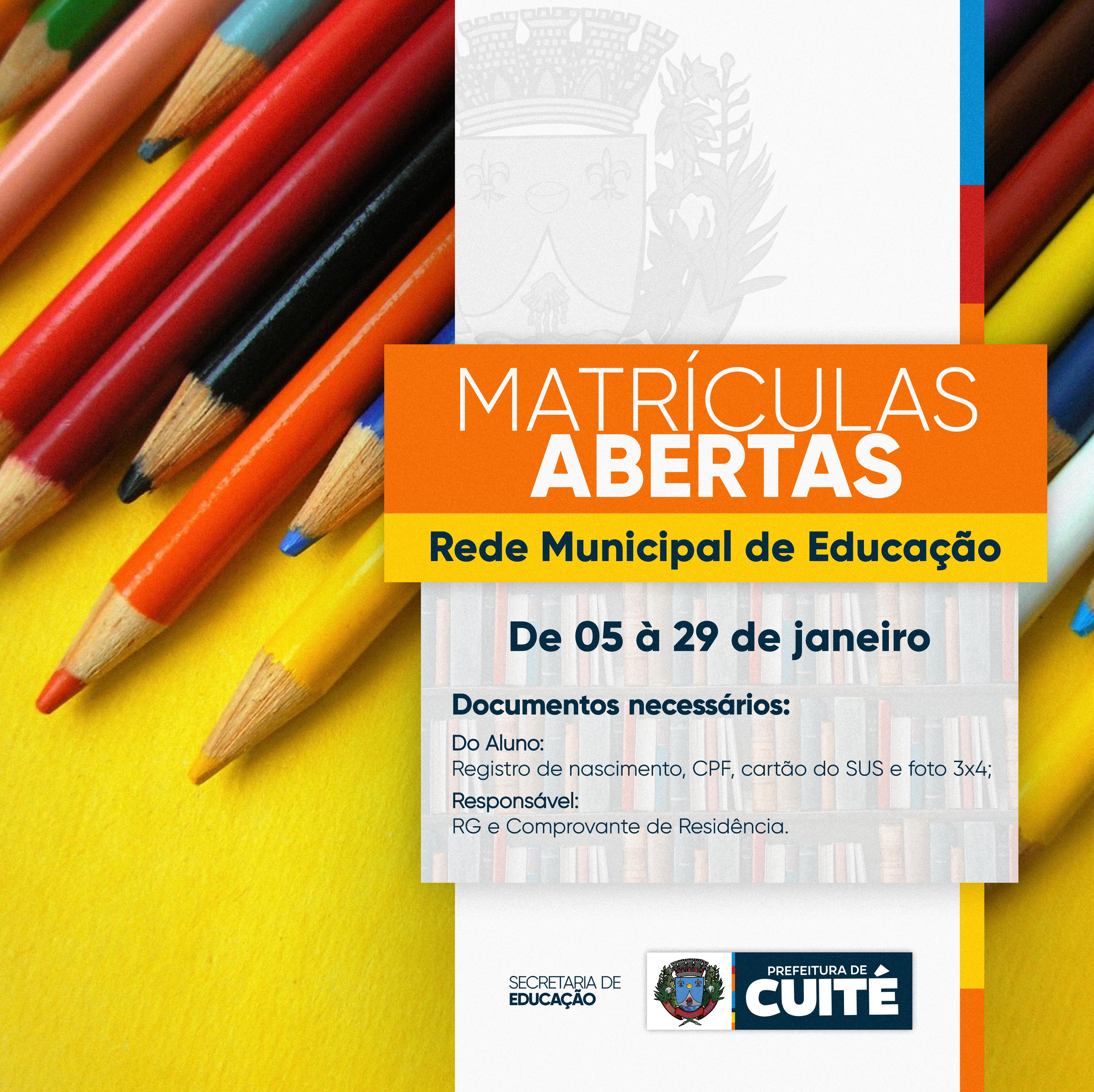 Iniciado período de matrículas da rede municipal em Cuité